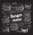 hand drawn burgers on blackboard fast food vector image