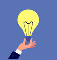 hand with light bulb businessman holding glowing vector image vector image