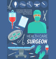 health care and surgeon doctor vector image vector image