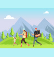 hiking family in nature trekking man woman and vector image vector image