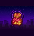 hot dog logo in neon style design template hot vector image