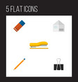 icon flat equipment set of pushpin stapler vector image vector image