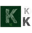 leaves alphabet letter k vector image
