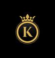 letter k royal crown luxury logo design vector image vector image