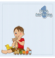 little boy are playing with his toys vector image