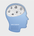 man head mind thinking with gear symbol paper cut vector image vector image