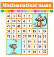 mathematical rectangle mazemonkey and ostrich vector image vector image