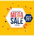 mega sale yellow hexagonal geometric banner design vector image vector image