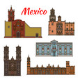 Mexico landmarks architecture line icons