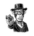 monkey gentleman holding revolver and dressed hat vector image vector image