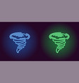 neon icon of blue and green tornado vector image vector image