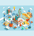 Online education isometric flat design