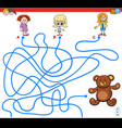 paths maze game with girls and teddy vector image vector image