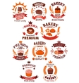 Premium bakery and pastry shop symbols vector image vector image
