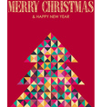 Retro mosaic Christmas pine tree vector image vector image