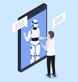 robot or chatbot in smartphone screen and engineer vector image