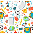 school seamless pattern with education items vector image vector image