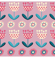 seamless pattern with tulips on the pink backgroun vector image vector image