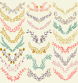 set hand drawn symmetrical floral graphic vector image vector image
