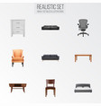 set of design realistic symbols with commode vector image