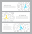 set of startup and business horizontal vector image