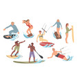 set people performing activities on water vector image