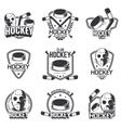 set sports logos for hockey vector image vector image