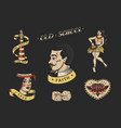 set vintage old school tattoo characters vector image