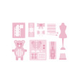 sewing and needlework pink icons set tailoring vector image vector image