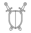 shield sword icon outline style vector image