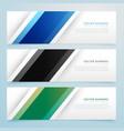 simple three color banner headers set vector image vector image