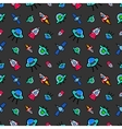 Space Ships Rocket and Satellite Seamless Pattern vector image vector image