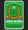 st patricks day gold pot clover and horseshoe vector image vector image