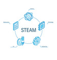 steam isometric concept connected line 3d icons vector image vector image
