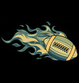 super fast rugby ball with fire vector image vector image