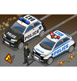 Two Isometric Police Car in Front View vector image