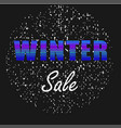 winter sale neon letters on black background vector image vector image