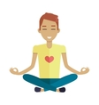 Young Man Making Meditation in Lotus Pose vector image