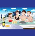 young people enjoying jacuzzi vector image