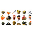 cartoon pirate icons set mobile game assets vector image