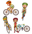 A coloured sketch of the cyclists vector image