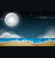 a night beach scene vector image