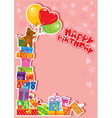 baby birthday card with teddy bear and gift boxes vector image