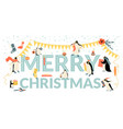 banner for christmas and with funny penguins vector image vector image