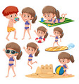 beach girl character set vector image