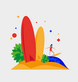 beach surfboard summer beach and surfing vector image
