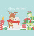 bear and snowman with scarf gifts celebration vector image vector image