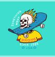 burning skeleton with a skateboard on neck vector image vector image