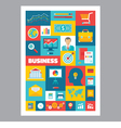Business - mosaic poster with icons in flat design vector image