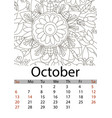 calendar october month 2019 antistress coloring vector image vector image